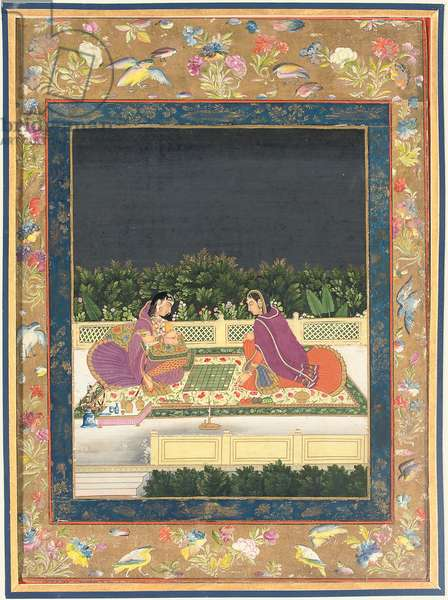 A chess game, Mughal India, second half of the 18th century (gouache & gold on paper)