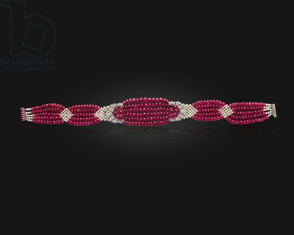 The Patiala Ruby Choker, 1931 (rubies, diamonds, pearls & platinum)