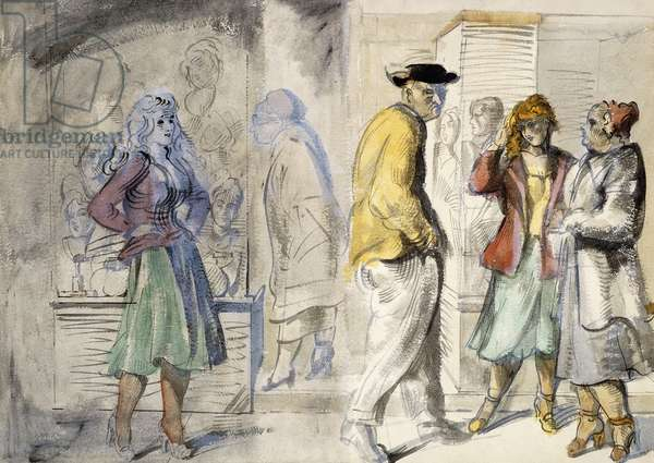 New York Street Scenes: A double-sided watercolour,  (brush and black ink, ink wash and watercolour on paper)