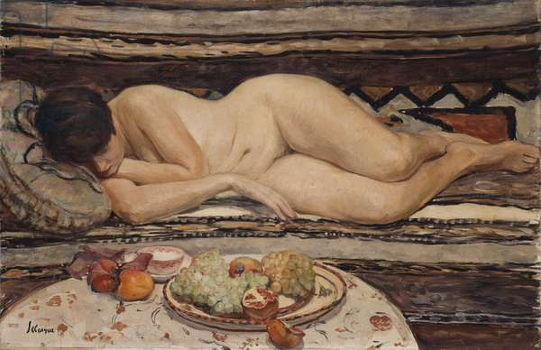 Nude with a Bowl of Fruit,  (oil on canvas)