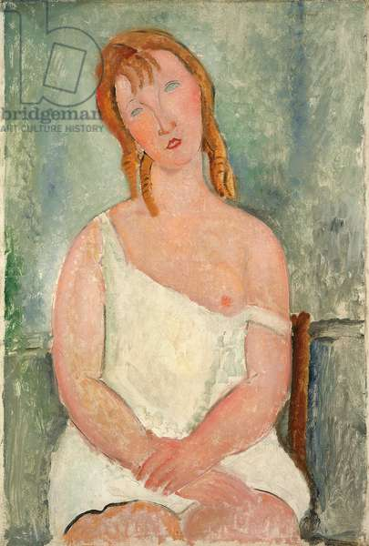 Seated Young Girl in a Shirt; Jeune fille assise en chemise, 1918 (oil on canvas)