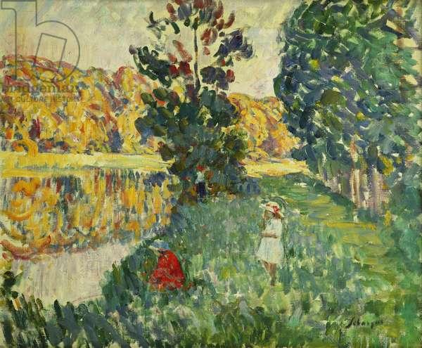 The Ponds of St. Peter; Les Etangs de St. Pierre, (oil on canvas)