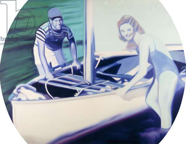 TV Boat, 1966 (oil on canvas in artist's frame)