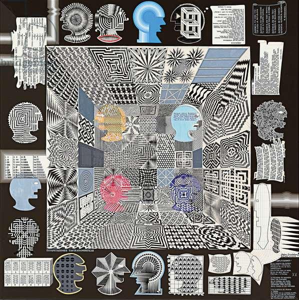 Decapitaciones Trantamorficas, 1978 (ink and acrylic on wood panel)