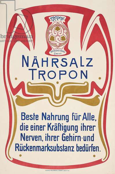 An advertising poster for the German food manufacturer Tropon, c. 1899 (colour lithograph)