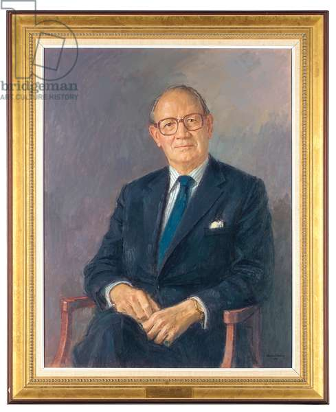 Portrait of Lord Aldington, seated wearing a dark suit, 1984 (oil on canvas)