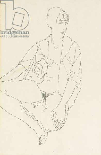 Seated female nude with open blouse, 1913 (pencil on paper) (recto of 993710)