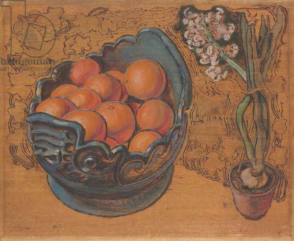 Oranges, 1895 (pyrogravure and oil on panel)