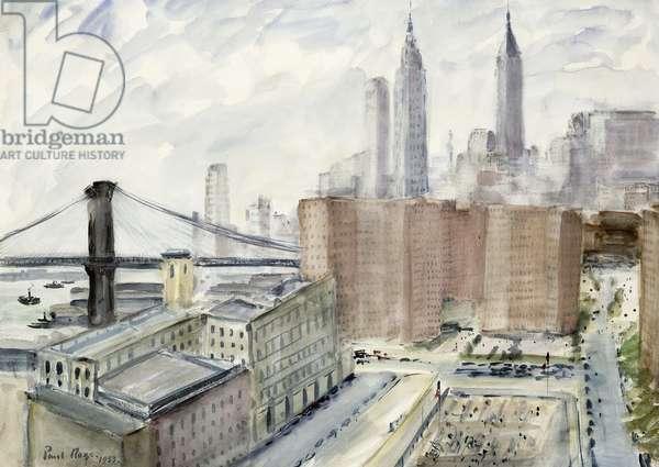 Brooklyn Bridge Looking Towards Wall Street, 1953 (watercolour and bodycolour)
