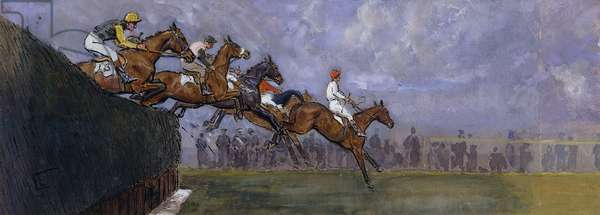 Beecher's Brook, Grand National 1962, 1962 (watercolour, bodycolour, pen and black ink)