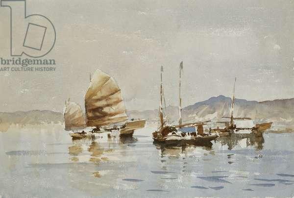 The Golden Sail, Hong Kong, (watercolour and bodycolour)