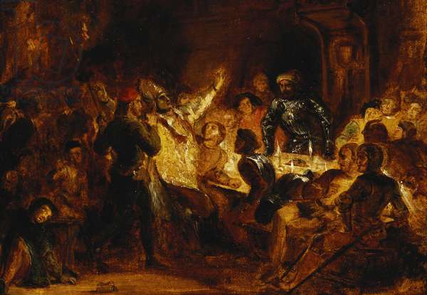The Murder of the Bishop of Liege, (oil on paper laid on canvas)