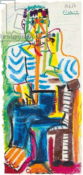 Smoker Sitting; Le fumeur assis, 1964 (pastel and coloured wax crayons on paper)