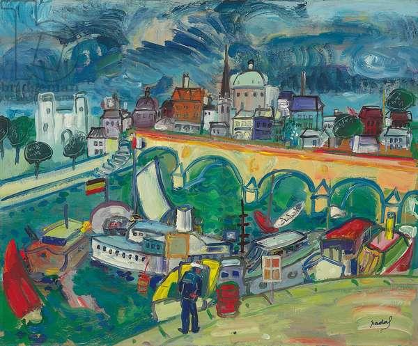 Louvre Bridge, 1968 (oil on canvas)