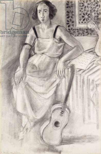 Woman Sitting with a Guitar, c.1921-23 (charcoal on paper)
