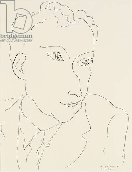 Portrait of Louis Aragon, 1943 (pen & ink on paper)
