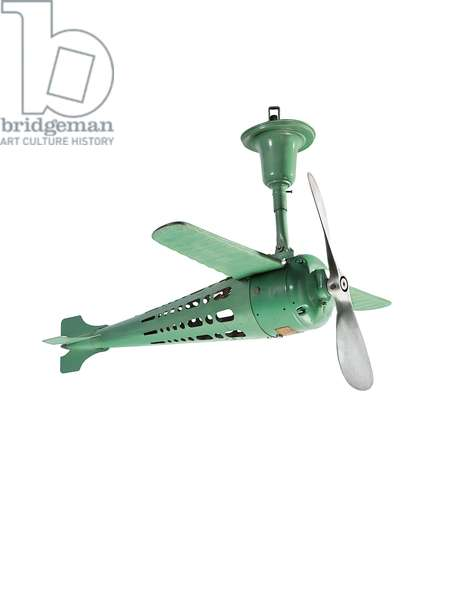 Airplane-form ceiling fan, 1930s (painted steel)