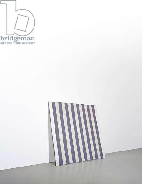 Peinture Acrylique Blanche sur Tissu Raye Blanc et Bleu, 1971 (acrylic and fabric)