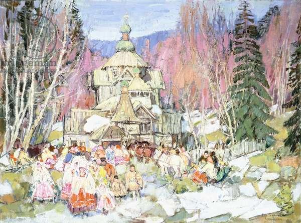 Siberian Wedding Scene, 1914 (oil on canvasboard)