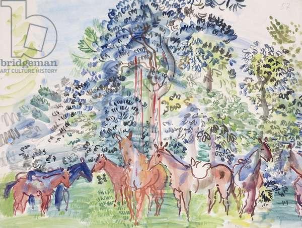 Horses in Wood; Chevaux au Bois,  (watercolour on paper)
