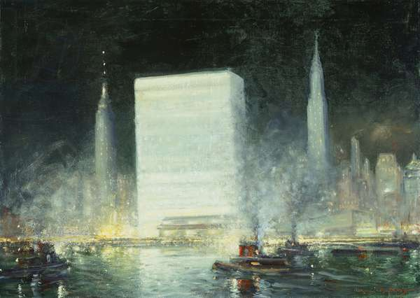 Nocturne - United Nations, 1957 (oil on canvas)