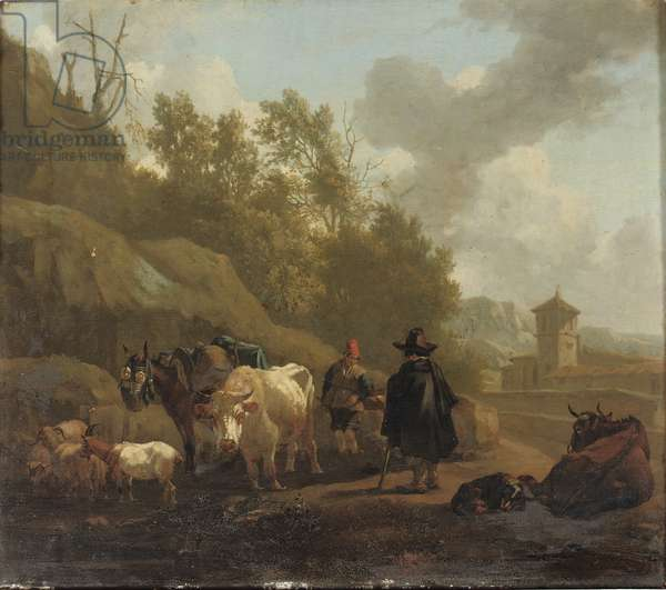 A cowherd and cattle in an Italianate landscape (oil on panel)