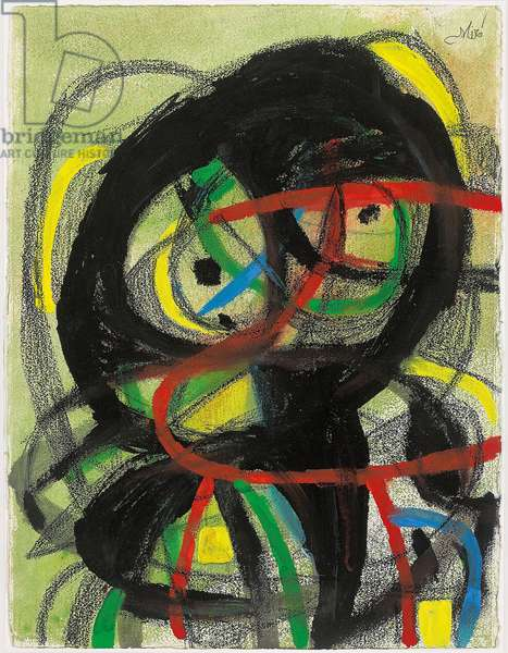 Head, 1981 (gouache, india ink and wax crayon and pencil on paper)