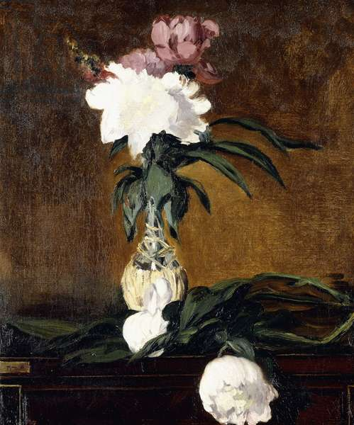 Peonies in a Bottle, 1864 (oil on canvas)