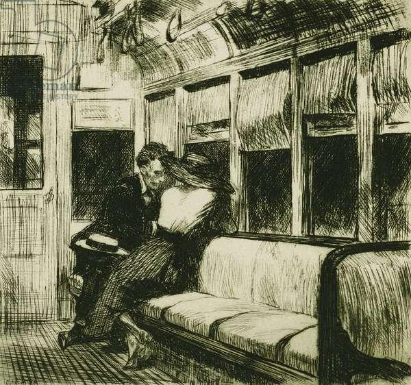 Night on the El Train, 1918 (etching)
