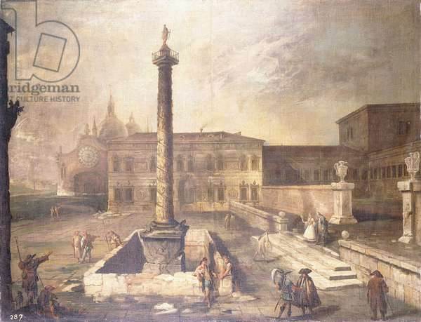 A Capriccio of a Piazza in front of a Palace with the Column of Marcus Aurelius,  (oil on canvas)