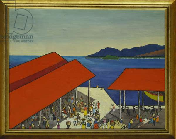 People on the Quay, Jamaica (oil on canvas)