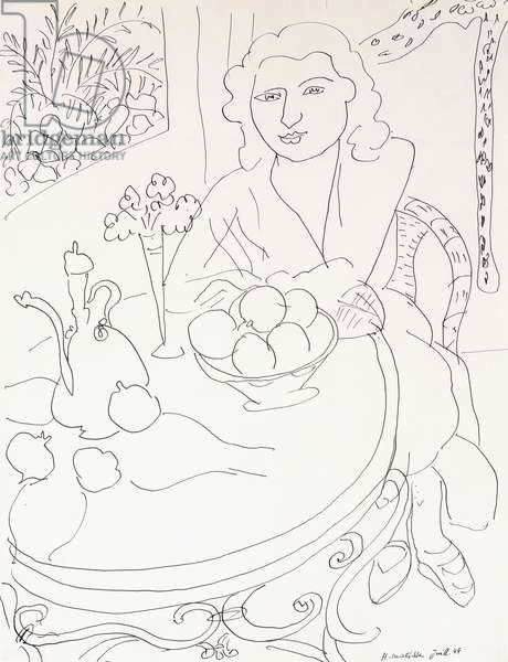 Young Woman at the Table, 1944 (pen and India ink on paper)