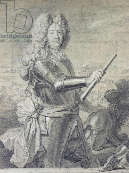 Presumed Portrait of Stanislas Leczinski (1677-1766), three-quarter length in Armour, One Hand on Helmet; Portrait Presume de Stanislas Leczinski (1677-1766), de Trois Quart en Armure, une Main Posee sur Son Casque,  (black and white chalk)