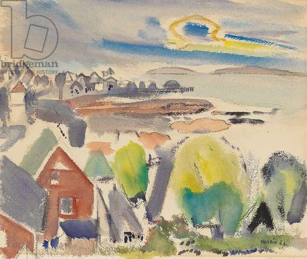 Stonington, Maine, 1921 (watercolour, charcoal and pencil on paper)