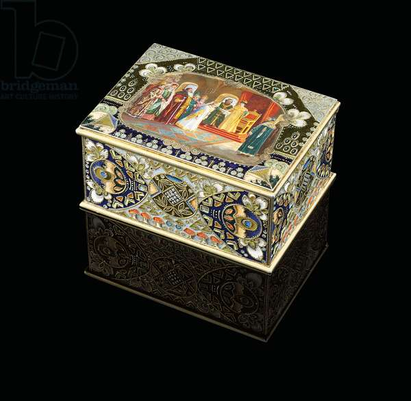 A table box with painted cartouche depicting Tsar Alexei Mikhailovich choosing a bride, c. 1908-1917 (silver-gilt, cloisonne enamel)