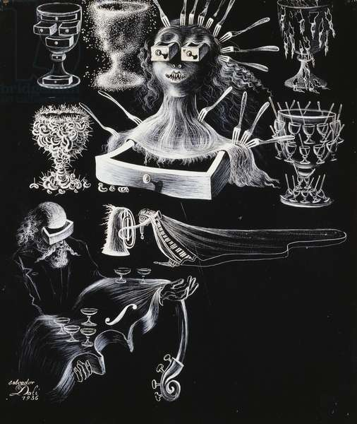 The Surrealist Artist at a Night Club, 1936 (pen, brush and white gouache on black board)