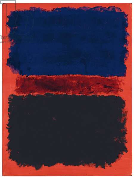 Blue, Red, Black on Red, 1967 (acrylic on paper laid down on panel)