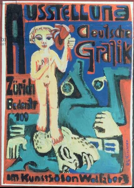 Austellung, Deutsche Grafik im Kunstsalon Wolfsberg, c.1921 (gouache on paper)