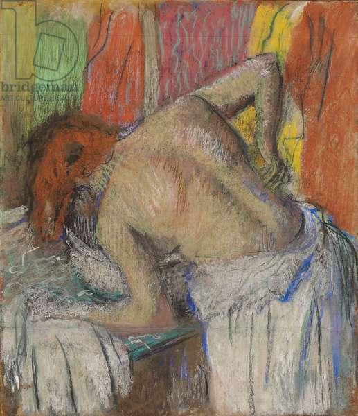 Woman Washing her Back; Femme s'epongeant le dos, c.1895 (pastel on paper laid down on board)