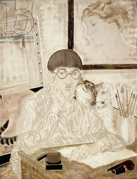 Self-portrait with Cats; Auto-portrait avec chats, 1930 (oil and gold paint on canvas)