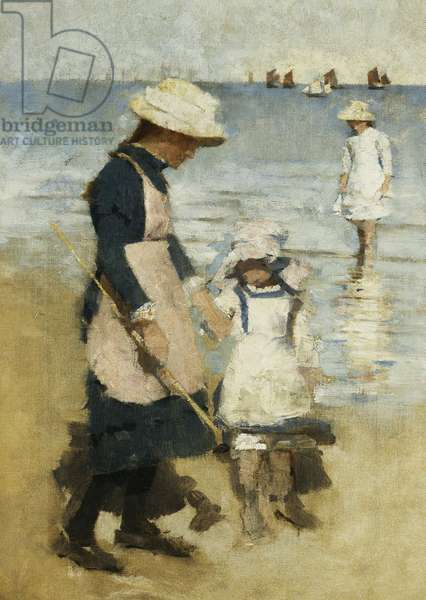 Children on the Beach, c.1891 (oil on canvas)
