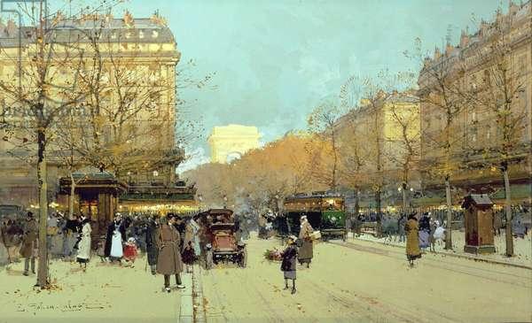 Boulevard Haussmann, in Paris (gouache on paper)