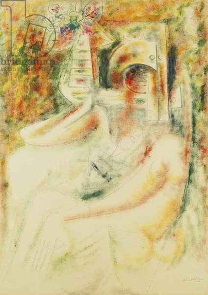 Woman Sitting amongst Flowers, 1944 (oil on paper)