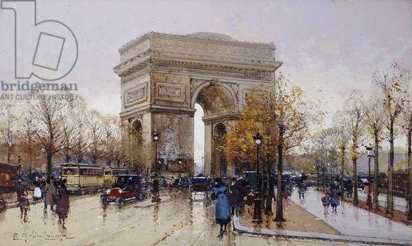 L'Arc de Triomphe, Paris, (black chalk and bodycolour)
