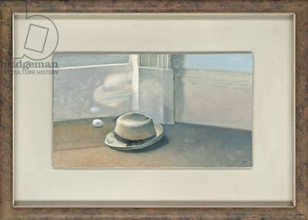 Hat with egg and reflection, 1981 (oil on board)