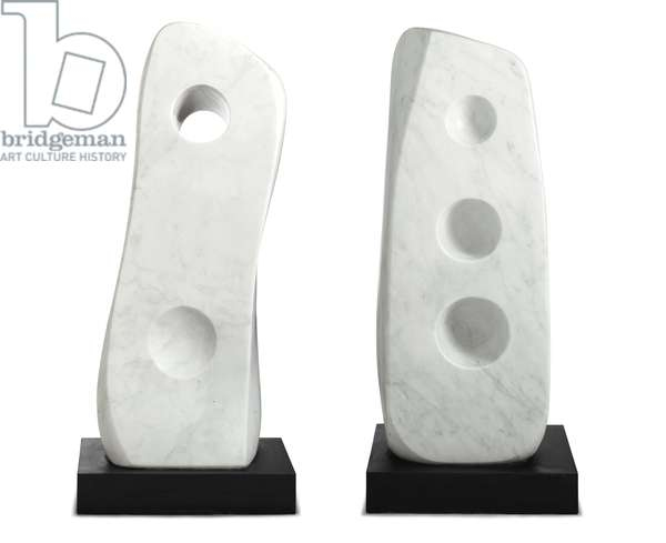 Upright Forms (Conversations), 1972 (white marble, base)