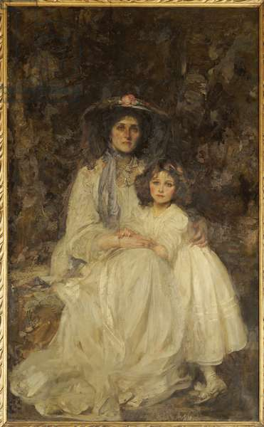 Lady Dickson-Poynder and her Daughter Joan, c.1905 (oil on canvas)