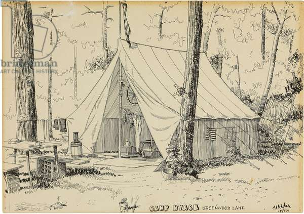 Camp Nyack, Greenwood Lake (ink & pencil on paper laid down on board)