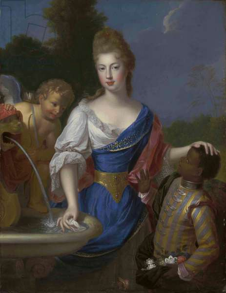 Portrait of a lady, three-quarter-length, traditionally identified as Louise Bernardine de Durfort, Duchess of Duras (1678-1747), with Cupid and a page, by a fountain (oil on canvas)