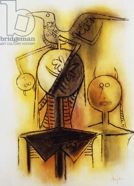 Woman and Bird; Femme et Oiseau, 1969 (pastel on paper)